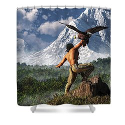 Hunting With An Eagle Shower Curtain