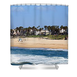 Huntington Beach California Shower Curtain by Paul Velgos