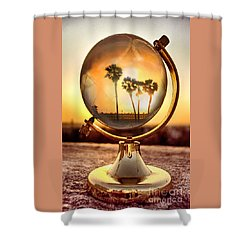 Huntington Beach Globe Shower Curtain