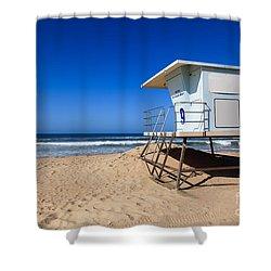 Huntington Beach Lifeguard Tower Photo Shower Curtain