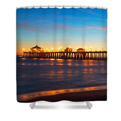 Huntington Beach Pier - Twilight Shower Curtain