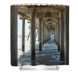 Shower Curtain featuring the photograph Huntington Beach Pier From Below by Ana V Ramirez