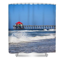 Huntington Beach Pier Photo Shower Curtain by Paul Velgos