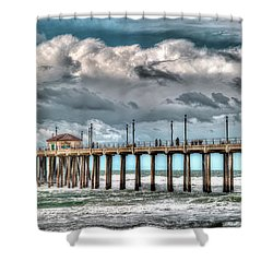 Shower Curtain featuring the photograph Huntington Beach Winter 2017 by Jim Carrell