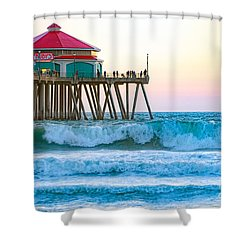 Shower Curtain featuring the photograph Huntington Pier by Anthony Baatz