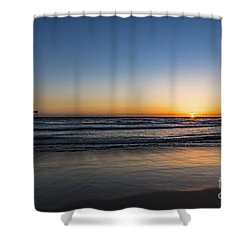 Shower Curtain featuring the photograph Huntington Sunset by Anthony Baatz