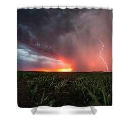 Shower Curtain featuring the photograph Huron Lightning  by Aaron J Groen