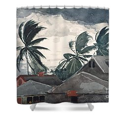 Shower Curtain featuring the painting Hurricane In Bahamas by Winslow Homer