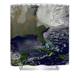 Hurricane Sandy Battering The United Shower Curtain by Stocktrek Images