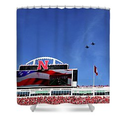Husker Memorial Stadium Air Force Fly Over Shower Curtain
