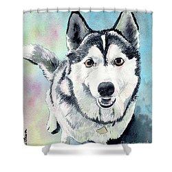 Husky Dog Love, Husky Painting, Husky Print, Dog Painting, Dog Print Shower Curtain
