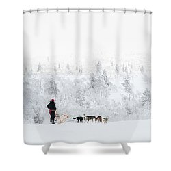 Shower Curtain featuring the photograph Husky Safari by Delphimages Photo Creations