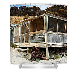 Shower Curtain featuring the photograph Hut At Western River Cove by Stephen Mitchell