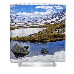 Shower Curtain featuring the photograph Hut In The Mountains by Dmytro Korol