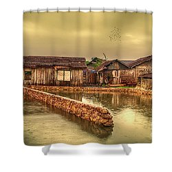 Shower Curtain featuring the photograph Huts 2 by Charuhas Images