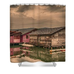 Shower Curtain featuring the photograph Huts In South Sulawesi by Charuhas Images