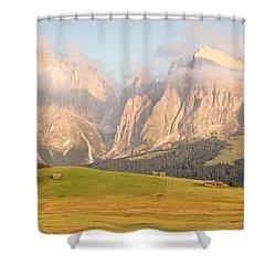 Huts On The Alpe Di Siusi Shower Curtain