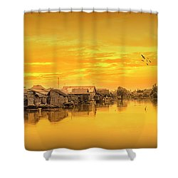 Shower Curtain featuring the photograph Huts Yellow by Charuhas Images