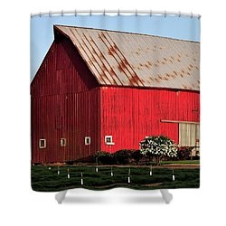Hwy 47 Red Barn 21x21 Shower Curtain by Jerry Sodorff