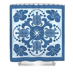 Hybiscus And Turtle Hawaiian Quilt Block Shower Curtain