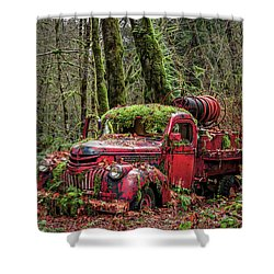 Hybrid Fire Truck Shower Curtain