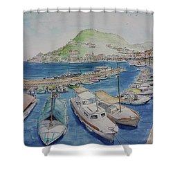 Hydra Harbor Shower Curtain