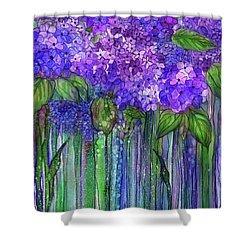 Shower Curtain featuring the mixed media Hydrangea Bloomies 1 - Purple by Carol Cavalaris
