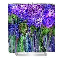 Shower Curtain featuring the mixed media Hydrangea Bloomies 2 - Purple by Carol Cavalaris