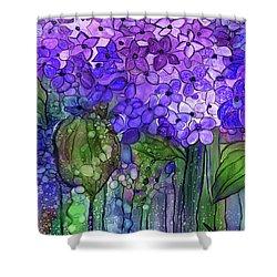 Shower Curtain featuring the mixed media Hydrangea Bloomies 4 - Purple by Carol Cavalaris