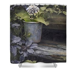 Shower Curtain featuring the mixed media Hydrangea Eve by Robin-Lee Vieira