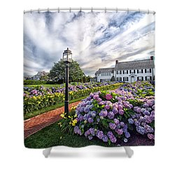 Shower Curtain featuring the photograph Hydrangea Walk House by Constantine Gregory