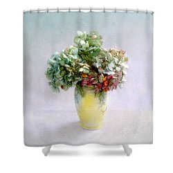 Shower Curtain featuring the photograph Hydrangeas In Autumn Still Life by Louise Kumpf