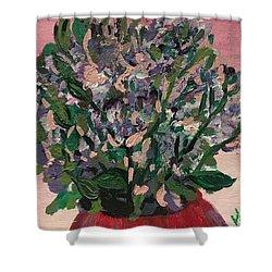 Hydrangeas In Red Vase Shower Curtain