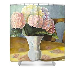 Shower Curtain featuring the painting Hydrangeas by Marlene Book