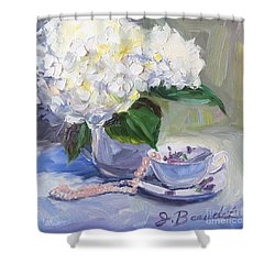 Hydrangeas With Pearls  Shower Curtain by Jennifer Beaudet