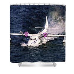 Hydroplane Splashdown Shower Curtain by Sally Weigand