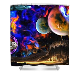 Hyperactivity Sector X66 In The Andromeda Gallaxy Shower Curtain by Mario Carini