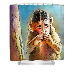 I Am So Sorry Shower Curtain by Miki De Goodaboom