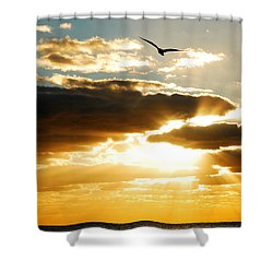 Gods Glorious Morning Shower Curtain by James Kirkikis