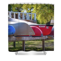 Shower Curtain featuring the photograph I Believe I'll Go Canoeing by Cindy Lark Hartman