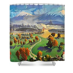 Shower Curtain featuring the painting I Dreamed America by Art James West