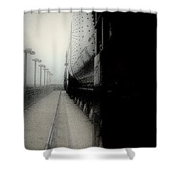 Shower Curtain featuring the drawing I Hear That Lonesome Whistle Blow by RC deWinter