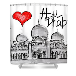 I Love Abu Dhabi Shower Curtain by Sladjana Lazarevic