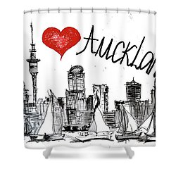 I Love Auckland  Shower Curtain by Sladjana Lazarevic