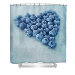 I Love Blueberries Shower Curtain by Priska Wettstein