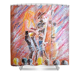 Shower Curtain featuring the painting I Love Bluegrass by Bill Holkham