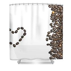 I Love Coffee Shower Curtain by Joana Kruse
