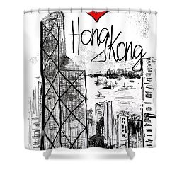 I Love Hong Kong  Shower Curtain by Sladjana Lazarevic
