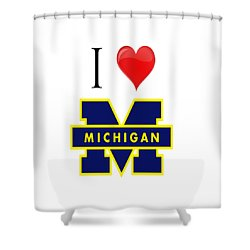 I Love Michigan Shower Curtain by Pat Cook
