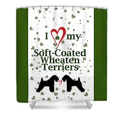 Shower Curtain featuring the digital art I Love My Soft Coated Wheaten Terriers by Rebecca Cozart